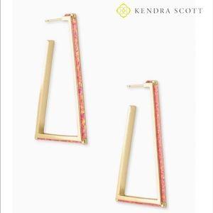 Kendra Scott Easton Gold Hoop Coral Opal Earrings